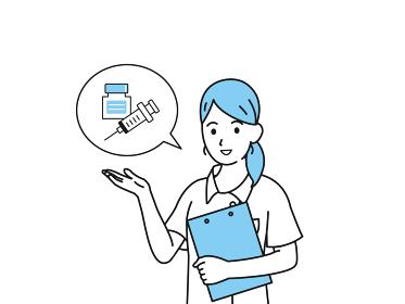 予防接種 注射 コロナワクチン 案内 お知らせ 看護師 女性 イラスト素材