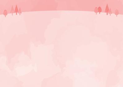 ピンク色の野原背景イラスト