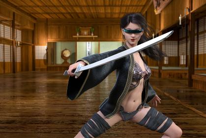 道場の中に未来から来た女侍が鋭く光る刀を持ち妖しく微笑み戦闘を始める