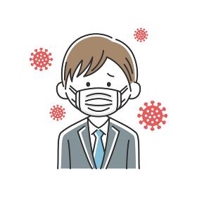 マスクをした日本人ビジネスマンのイラスト