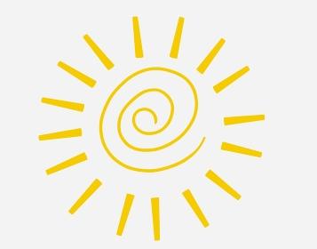 ぐるぐる巻きのシンプルな黄色の太陽
