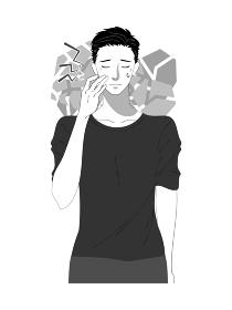 スキンケアする若い男性のイラスト 白黒