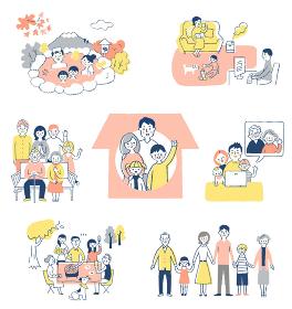 家族の様々なライフシーン セット