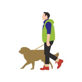 歩いている人物・歩行者 全身(横向き)シルエットイラスト/ 犬の散歩をする男性