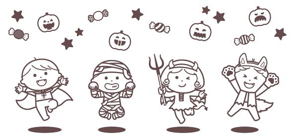 ハロウィンのおばけの衣装を着てジャンプする子どもたち / 単色