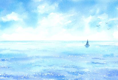 青空 海 ヨット 水彩画 はがきサイズ比率