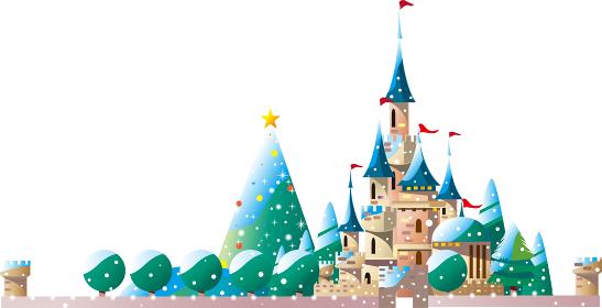 雪降るクリスマスに西洋の城