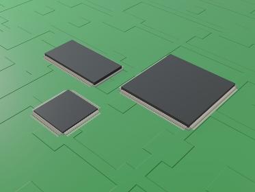 半導体 CPU GPU 基盤 の3d render