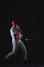 野球ボールをバットで打つ瞬間