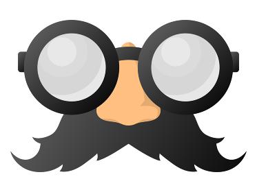丸メガネと鼻と髭
