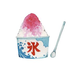 かき氷 イチゴ味 水彩 イラスト