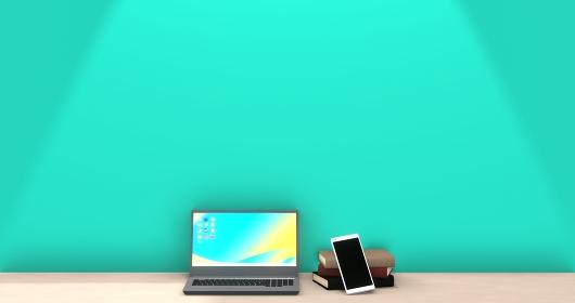 ノートパソコンとスマートフォンと本 3DCG