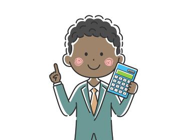 電卓を持った黒人ビジネスマンのイラスト