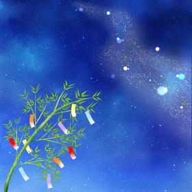 夜空に流れる天の川と短冊が揺れる笹(正方形) JPG 天の川 夜空 七夕 笹 短冊 星 風景 背景