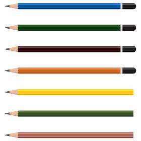 イラスト素材 長いえんぴつ エンピツ 鉛筆 筆記用具 傾斜 カラー ベクター