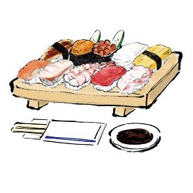 手描きの握り寿司盛り合わせの和風の筆描きイラスト素材