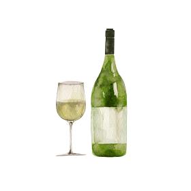 白ワイン グラスとボトル イラスト 水彩