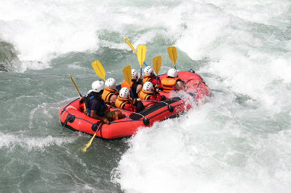 White water rafting on the rapids of river Yosino in Japan