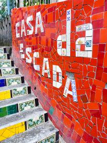 ブラジル・リオデジャネイロの観光名所であるタイル絵のセラロン階段ロゴ部分