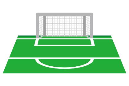 サッカーゴールとペナルティエリア