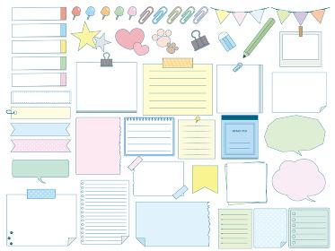 かわいいメモ用紙 文房具のイラスト素材