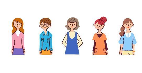 若い女性5人 上半身
