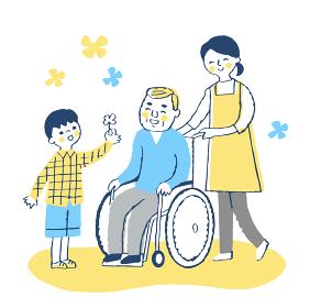 男の子と車椅子のおじいちゃんと女性介護スタッフ
