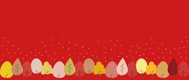 紅葉した並木と赤い背景のイラスト