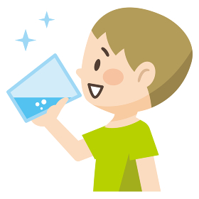 コップの水を飲む男の子のイラストレーション