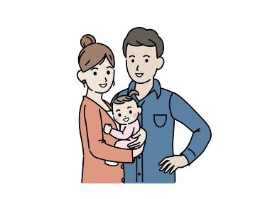 3人家族 若い夫婦 赤ちゃんを抱っこする イラスト素材