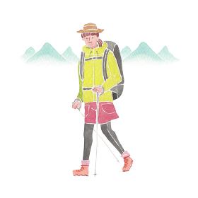 登山 ハイキング トレッキング 人物 女性 水彩 イラスト