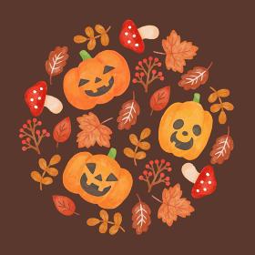 色鉛筆手描き風 ハロウィン 秋の葉っぱとキノコとカボチャのグラフィック素材