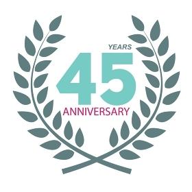 Template Logo 45 Anniversary in Laurel Wreath Vector Illustration EPS10. Template Logo 45 Anniversary in Laurel Wreath Vector Illustratio