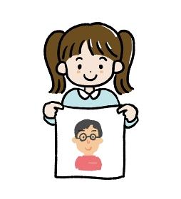 父の日のお父さんの似顔絵を描いた女の子のイラスト