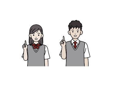 上に指を立てる学生 アイデア 説明 中高生 高校生 中学生 男女 イラスト素材