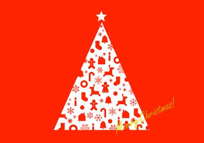 クリスマスツリーのグリーティングカード
