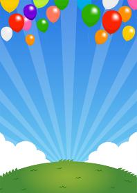 背景素材 /青空と草原 (お祝い・明るい) カラフルなA4サイズバナー イラスト(テキストスペース)