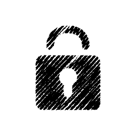 チョークで描いたような図形/アイコン(南京錠・鍵・セキュリティー)