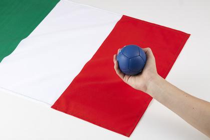 イタリア国旗とボッチャのボールを持つ手