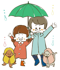 雨の日の子どもたちと犬と猫