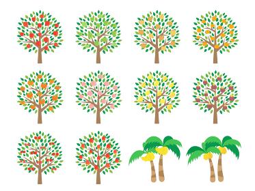 果物の木のイラストセット
