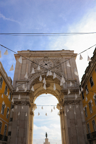Augusta Street Triumphal Arch in the Commerce Square in Lisbon