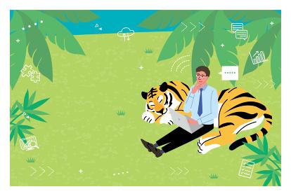 2022年 寅年 年賀状デザイン 虎とリモートワークの男性のイラスト
