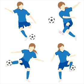 サッカーをする女性シンプルセット01