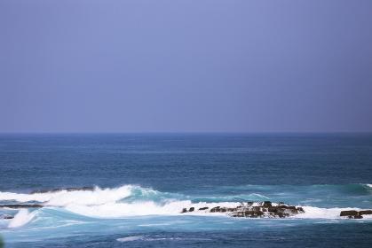 日南海岸の沖の岩場にかかる波