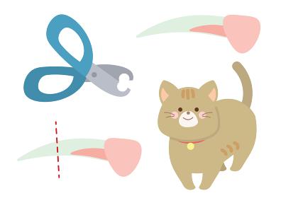 ネコの爪切りのイラスト