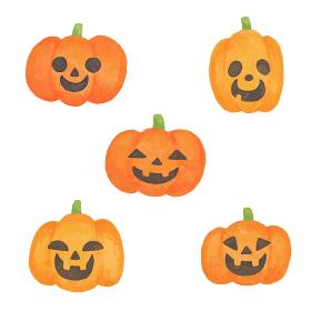色鉛筆で手描き風 色々な表情のハロウィンのかぼちゃイラストセット