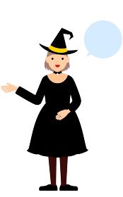 ハロウィンの仮装、魔女姿の女の子が右手を出して話しているポーズ(吹き出しつき)