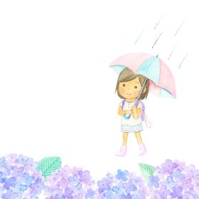 傘をさした女の子とあじさい 水彩イラスト