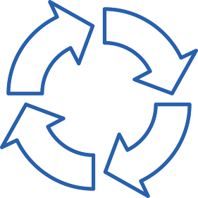 円状に並んだ線で描かれた矢印イラスト